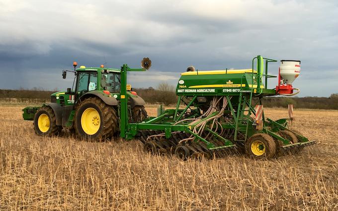 Matt redman agriculture with Drill at Landbeach