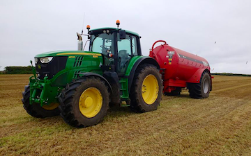 A & sj charlesworth farmers and contractors with Slurry spreader/injector at Loxley