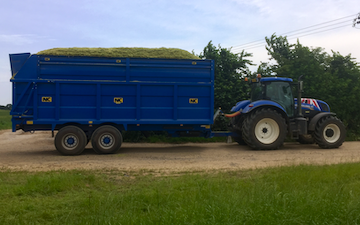 Ashley martin  with Silage/grain trailer at Huish Episcopi
