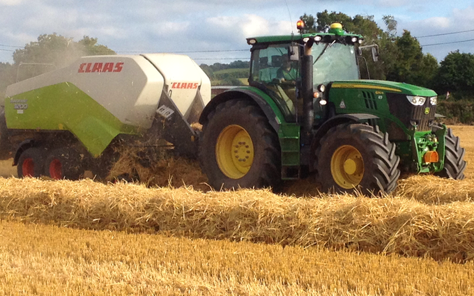 M g ricketts  with Large square baler at Glasbury