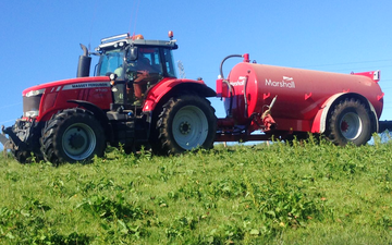 Mains of allanbuie farmers & contractors with Slurry spreader/injector at United Kingdom
