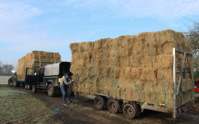 Belsham farming with Flat trailer at United Kingdom