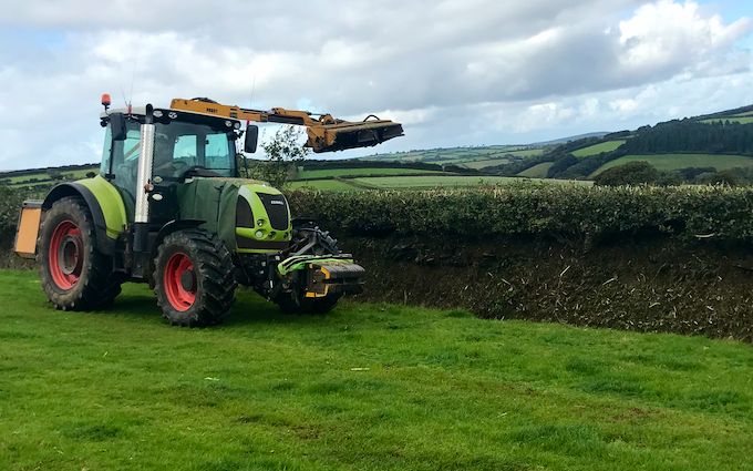P.m ash agri services  with Hedge cutter at Wheddon Cross