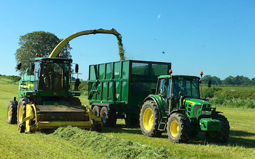 P davenport & son  with Forage harvester at Bloxham