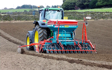 A & sj charlesworth farmers and contractors with Drill at Loxley
