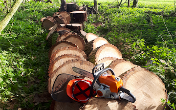 Chris stokes with Chain saw at Stansfield
