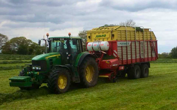 T&b agricultural contractors ltd with Self loading wagon at United Kingdom