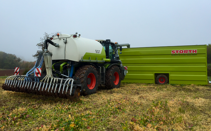 M g ricketts  with Slurry spreader/injector at Glasbury