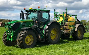 David marshall agricultural contractor with Trailed sprayer at Albrighton
