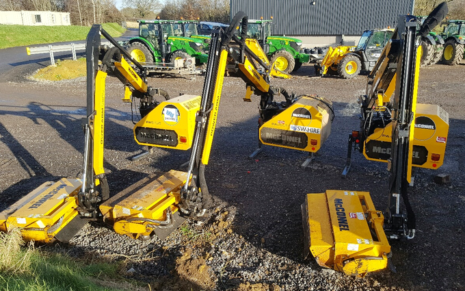 Sw machinery hire ltd with Hedge cutter at Lacock, Chippenham