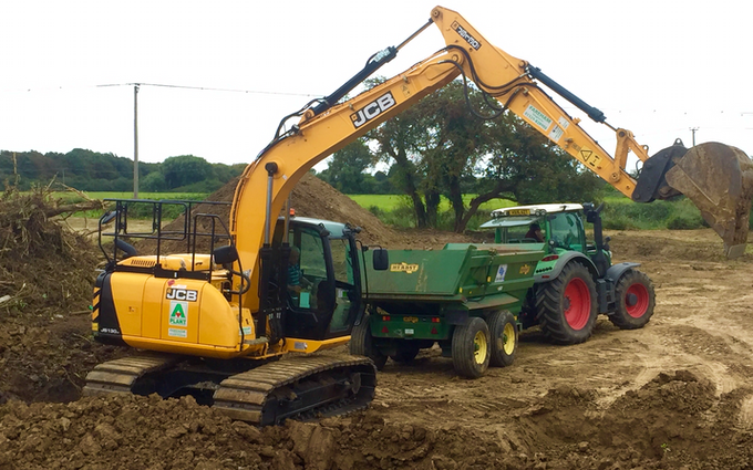 Ams contracting ltd with Excavator at Birdham