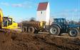 Kjærs maskinstation & entreprenør a/s med Dumpervogn ved Skjern