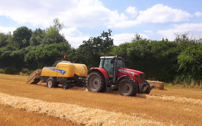 A and c agri with Large square baler at Coleorton
