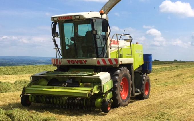 Tovey agri contracting  with Forage harvester at West Harptree