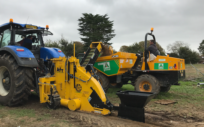 Ams contracting ltd with Drainage Trencher at Birdham