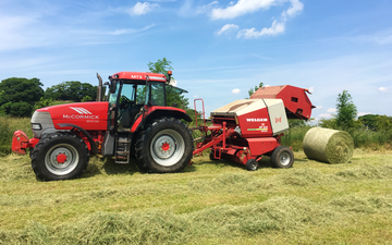 Anthony agricultural  with Round baler at Hazel Grove