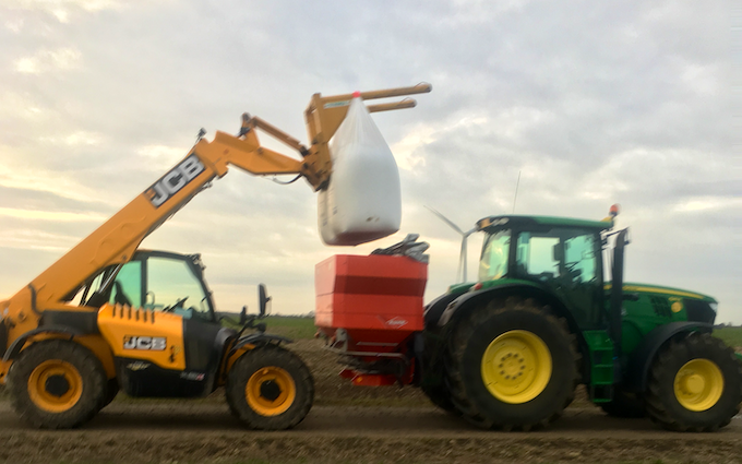 Eayrs farming with Fertiliser application at Offord D'Arcy