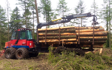 Askew forestry with Forwarder at Lawkland