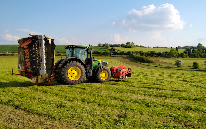 King agriculture with Mower at Kings Head Lane