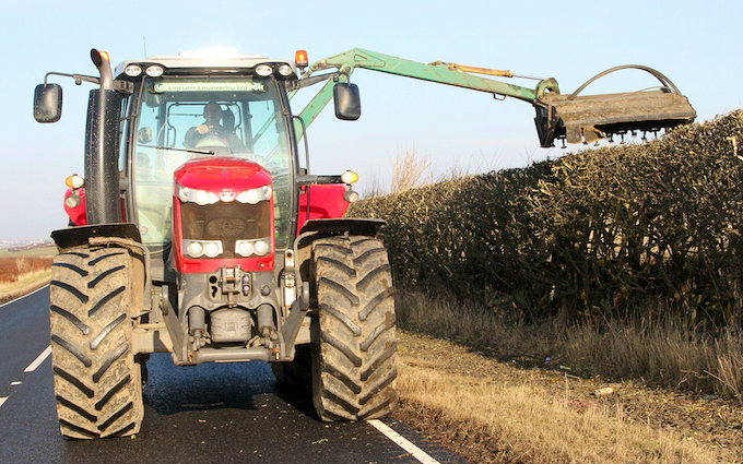 D&c coghill  with Hedge cutter at Knockdee