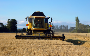 Mckenzie brooker contracting  with Combine harvester at Oxford
