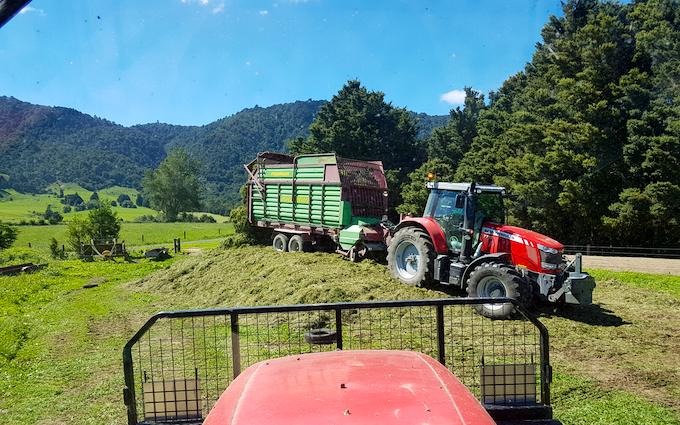 Klaus ag with Self loading wagon at Okauia