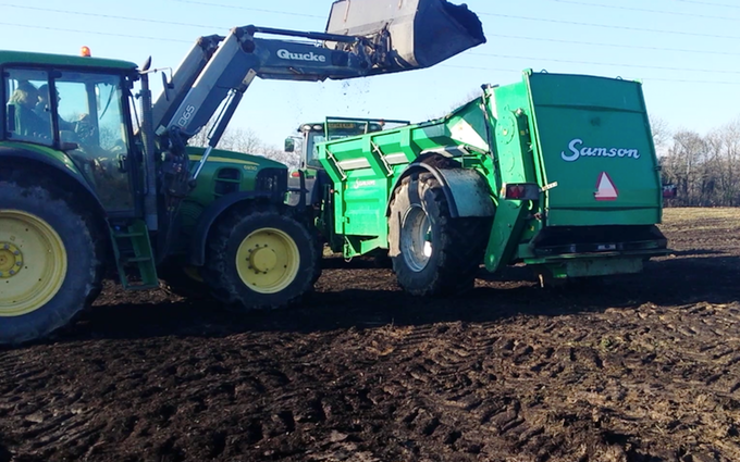 Charles moon contracting  with Manure/waste spreader at Greatstone