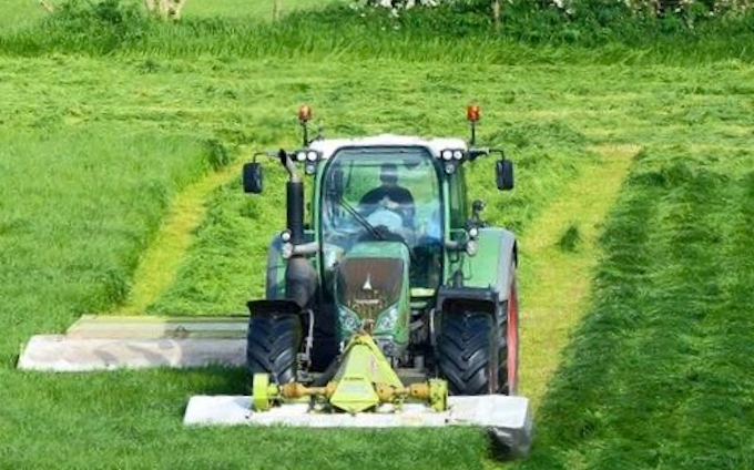 Agri serv with Mower at Scaftworth