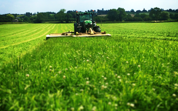 Manford farm contractors  with Mower at Oswestry
