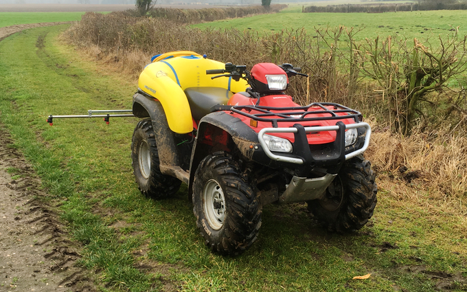 Bs agricultural services with ATV sprayer at Kirstead Green