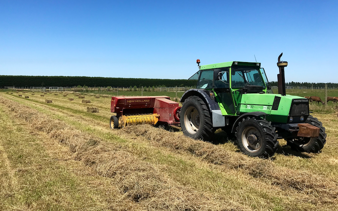Drummond contracting ltd with Small square baler at Ashburton