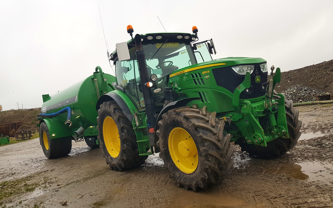Dan hirst agricultural contractors  with Slurry spreader/injector at Camelford
