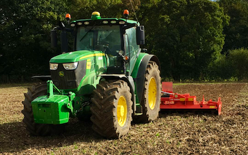 O chantry agricultural services with Power harrow at Darsham