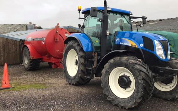 Trafalgar contracting & hire with Slurry spreader/injector at Ackenthwaite