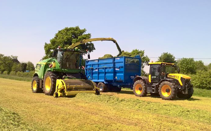 H c beales and co with Silage/grain trailer at Great Ellingham