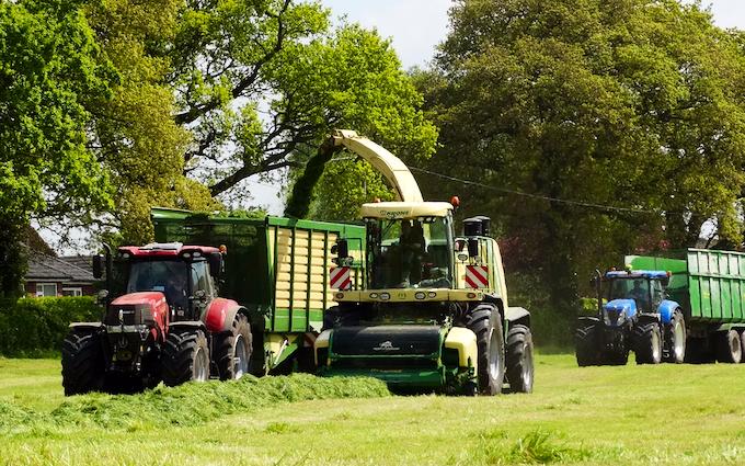 Hooftrimming ltd with Forage harvester at United Kingdom