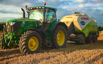A r richards  with Large square baler at United Kingdom