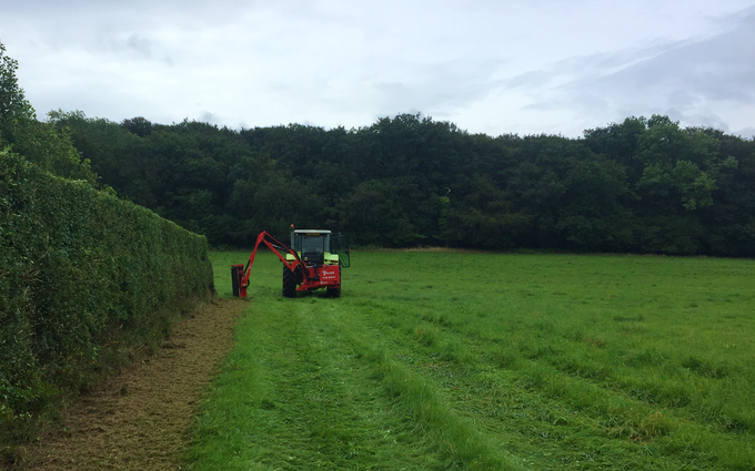Bright's agri contracting with Hedge cutter at Barn Park