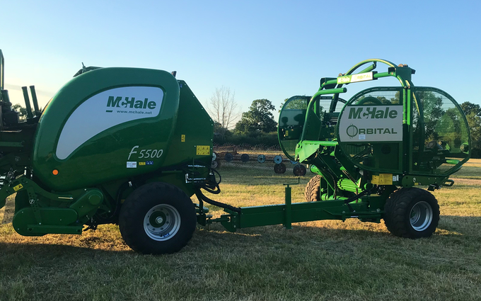 Edwards agricultural services  with Baler wrapper combination at Chorley