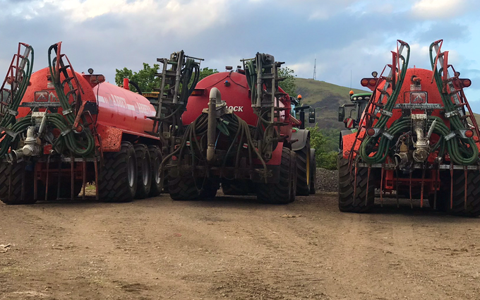 David sykes ltd with Slurry spreader/injector at Greenfield