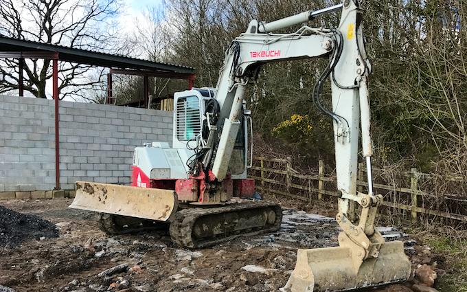 Scott walton contracting  with Excavator at Coychurch